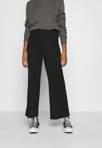 Even&Odd - Wide Leg Ribbed Trousers - Trousers - black - 0