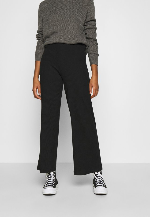Wide Leg Ribbed Trousers - Pantalones - black