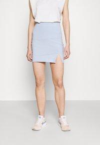 Even&Odd - 2er PACK - Mini skirts basic with slits - Pencil skirt - black/light blue - 1