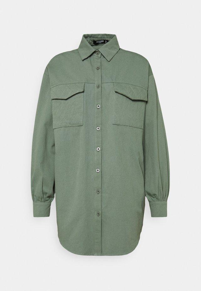 QUILTED POCKET DRESS - Shirt dress - khaki