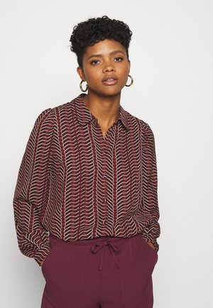 VMHIBALA - Button-down blouse - madder brown/black/white
