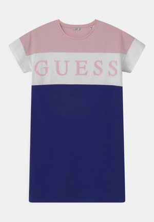 JUNIOR - Jersey dress - pink/white