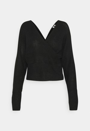 OFF SHOULDER WRAP - Sweter - black