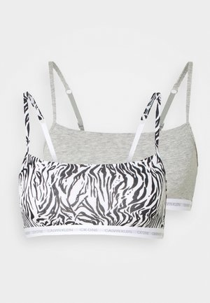 CK ONE UNLINED BRALETTE 2 PACK - Topp - grey heather/glass tiger print