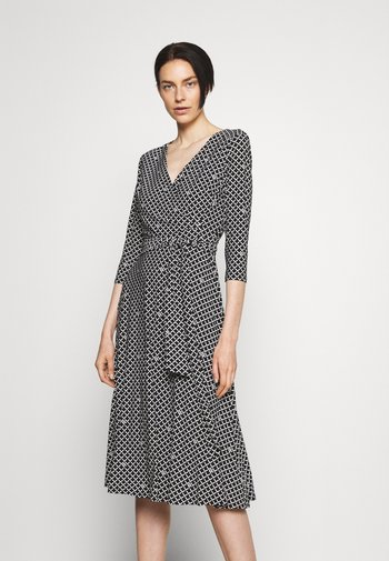 CARLYNA 3/4 SLEEVE DAY DRESS - Day dress - black/colonial cream