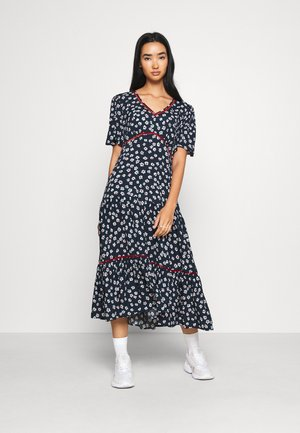 PRINTED TRIM DRESS - Sukienka letnia - twilight navy