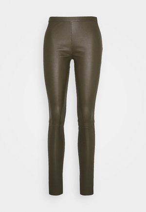 PLAIN WITH ZIP AT TOP - Leather trousers - green