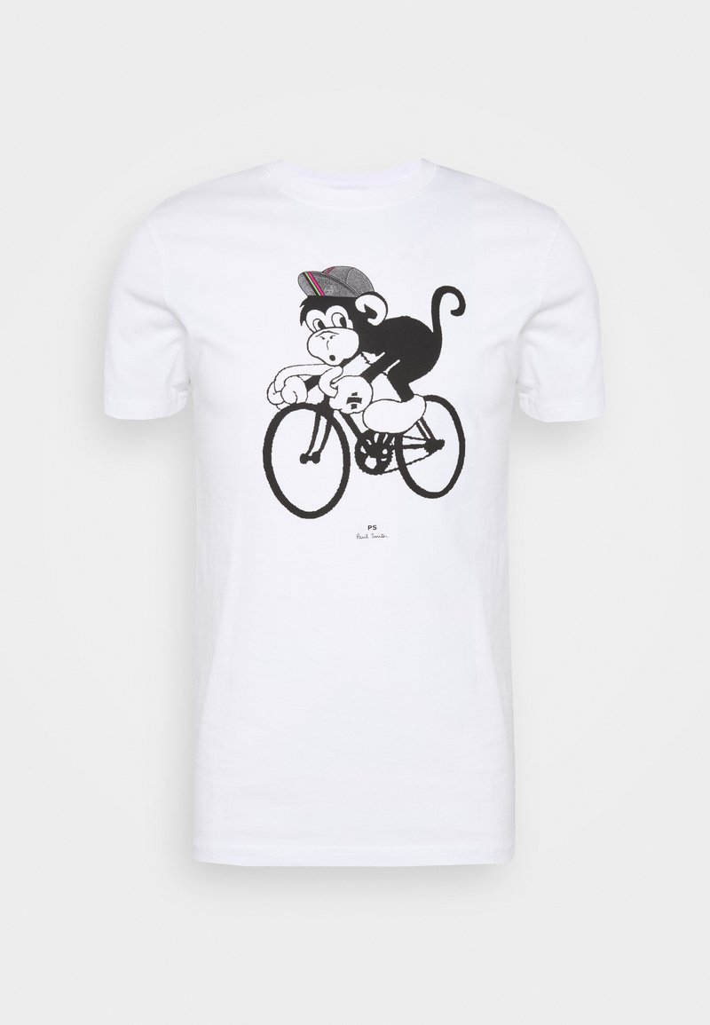 PS Paul Smith - BIKE MONKEY - Print T-shirt - white