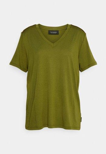 V NECK PLUS - Basic T-shirt - mottled olive