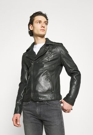 MALIK UNISEX - Leather jacket - anthracite
