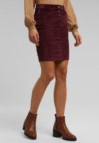 Esprit - PENCIL SKIRT - Pencil skirt - bordeaux red - 0