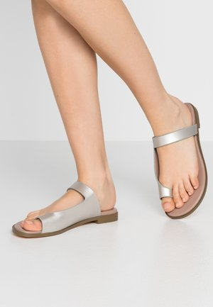 HIROE - T-bar sandals - silver