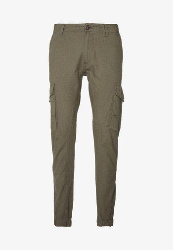 JJIPAUL JJFLAKE LINEN - Pantaloni cargo - olive night