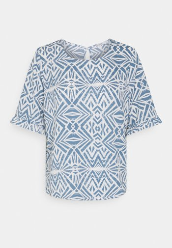 ONLNOVA LUX FRILL - T-shirt z nadrukiem - cloud dancer/denim
