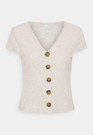 ONLNELLA BUTTON - Print T-shirt - oatmeal