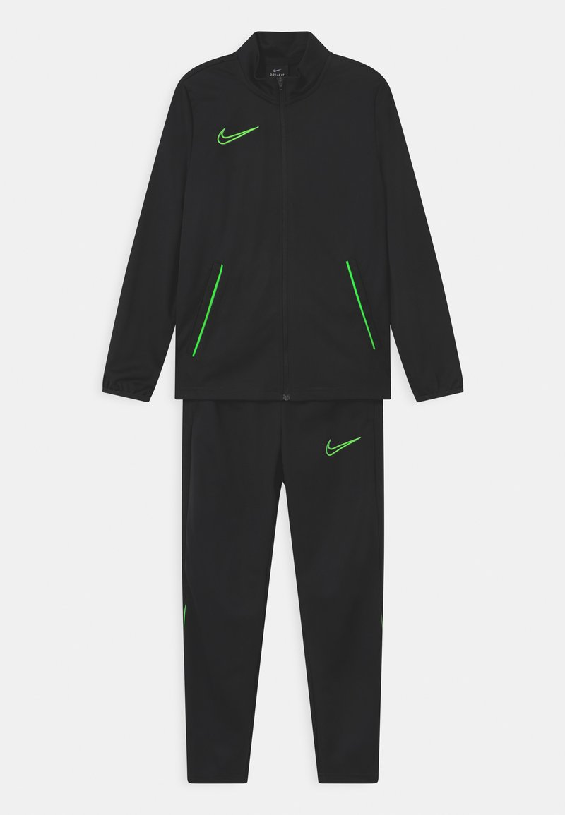 Nike Performance - ACADEMY SET UNISEX - Tracksuit - black/green strike