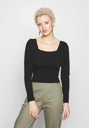 SQUARE NECK TOP - Longsleeve - black