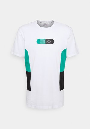 JALEN BLOCKED TEE - T-shirt med print - bright white/alhambra/black