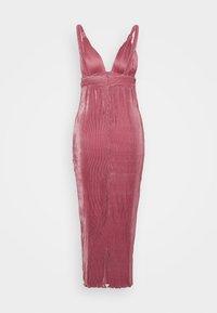 Missguided - VELVET PLISSE KNOT STRAP DETAIL  - Koktejlové šaty/ šaty na párty - dark pink - 1