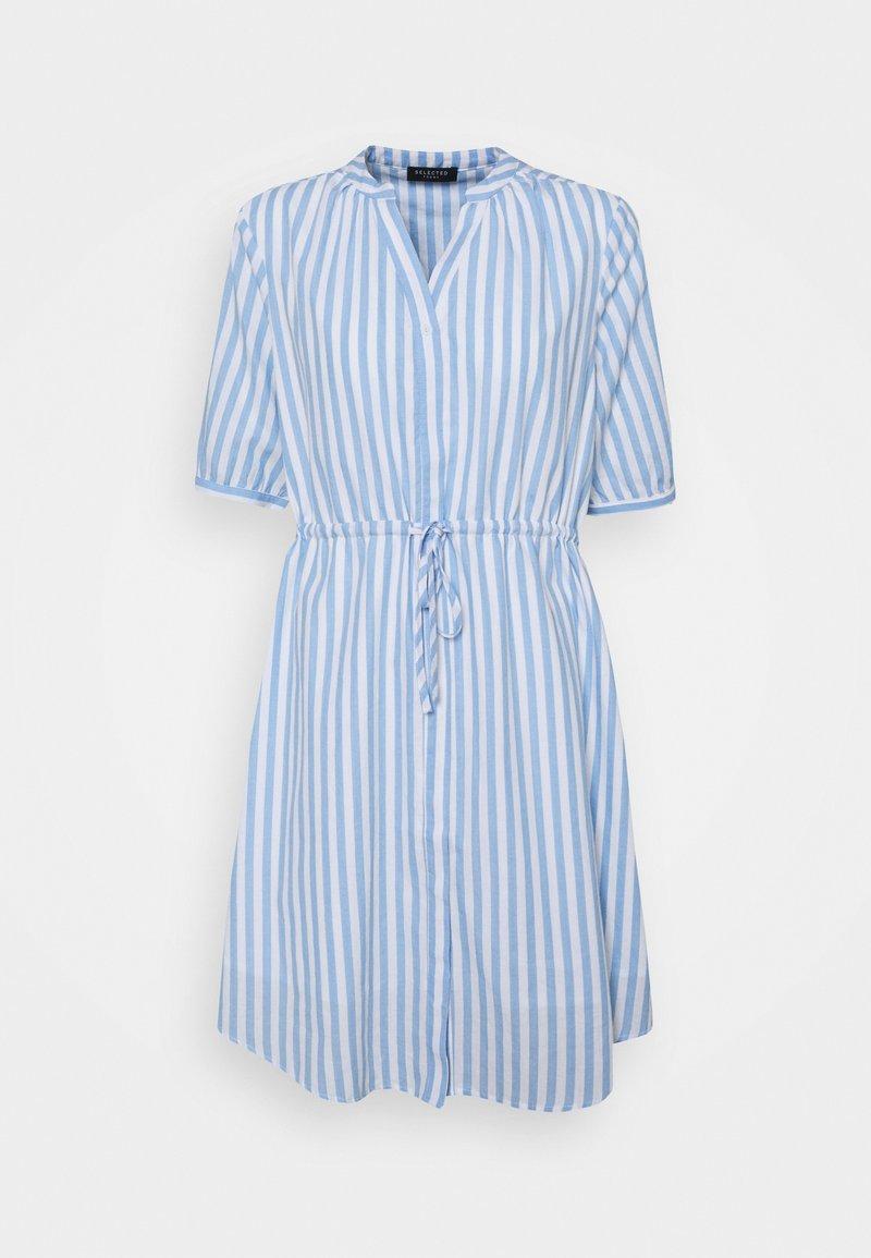 Selected Femme - SLFPERA ZENIA DRESS - Day dress - snow white/blue