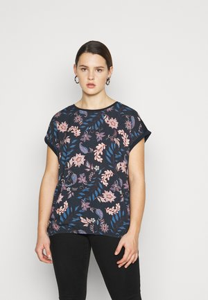 FABRIC MIX - Print T-shirt - navy