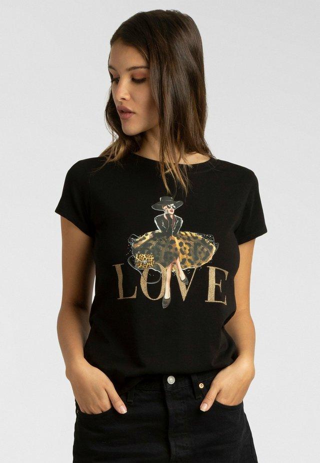 T-shirt imprimé - schwarz