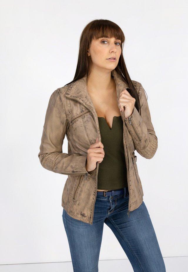 RIPLEY - Leather jacket - beton beige