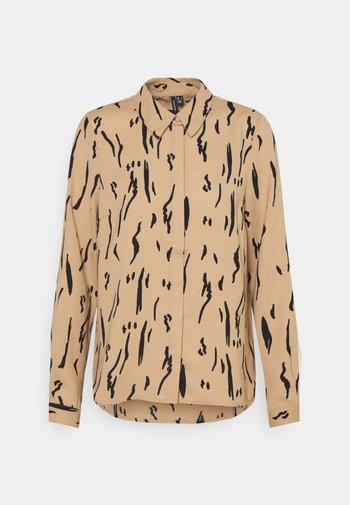 VMELITA - Button-down blouse - tigers eye/graphic black