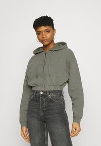 BDG Urban Outfitters - SUPER CROP ZIP HOODIE - Zip-up hoodie - sage - 0