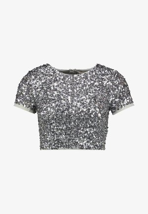 DELICATE SEQUIN CAP SLEEVE CROP - Bluser - grey