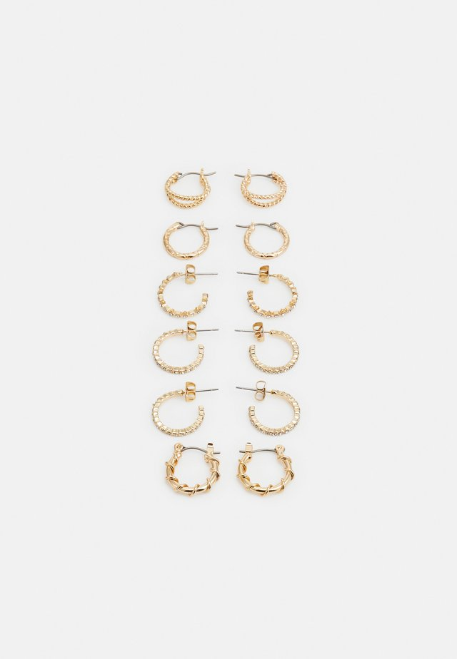 PCRIKKY EARRINGS 6 PACK - Øredobber - gold-coloured