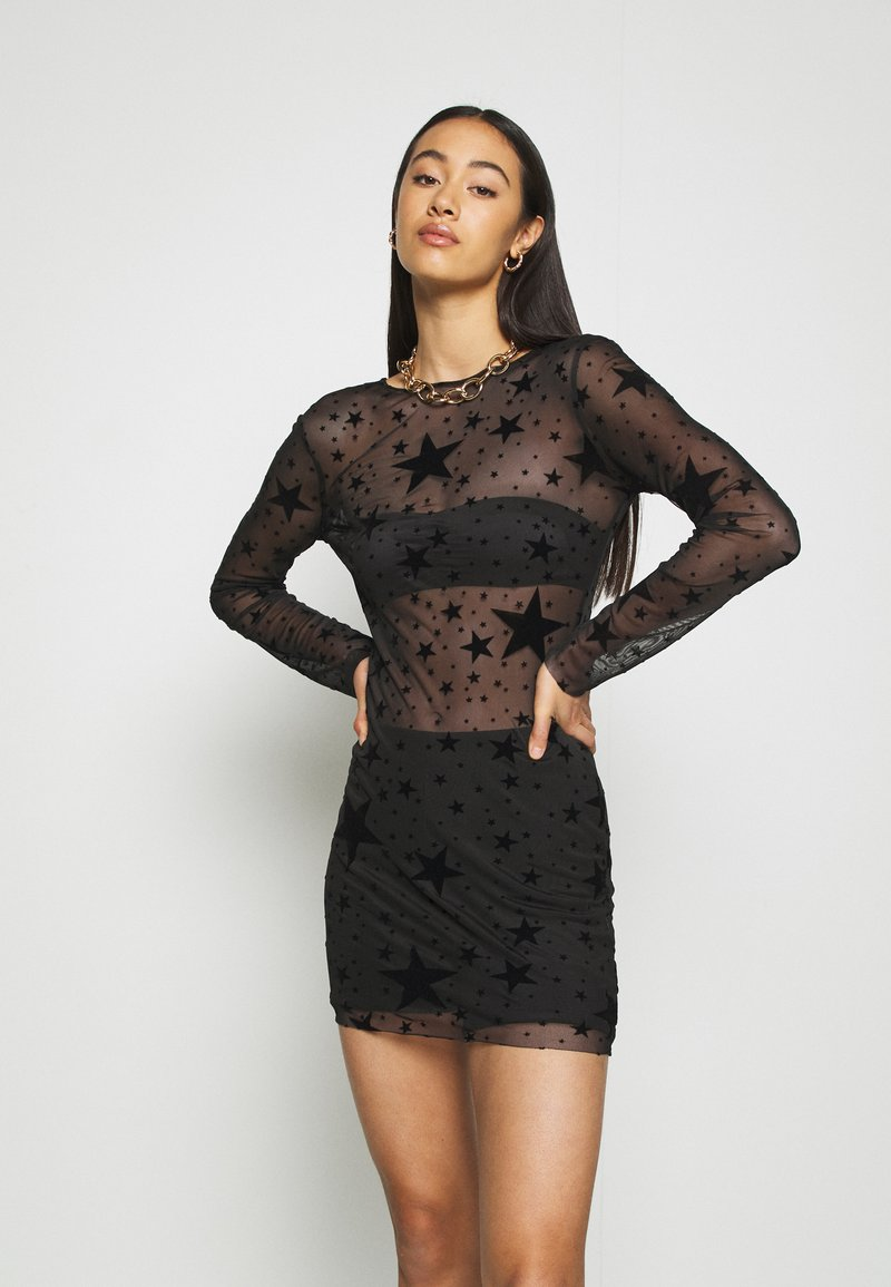 Missguided - HALLOWEEN STAR FLOCKED BODYCON DRESS - Shift dress - black