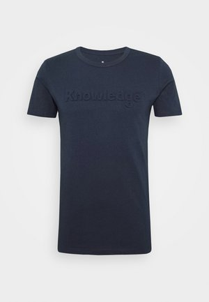 ALDER KNOWLEDE TEE - Printtipaita - dark blue