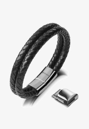 LEDER TWO STRIPES - Bracelet - silber