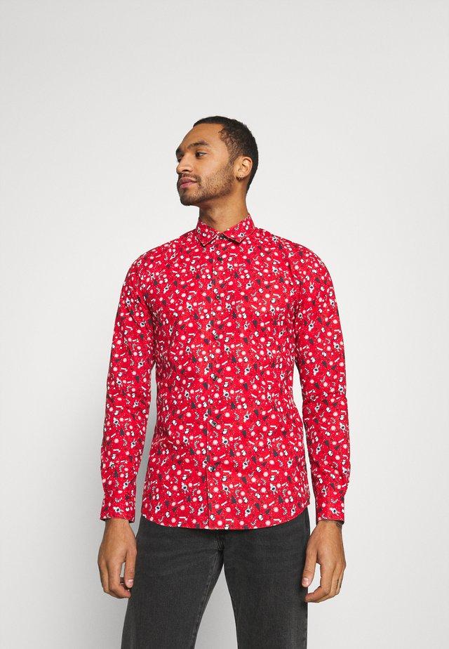 ONSXMAS FUNNY DITSY  - Shirt - pompeian red