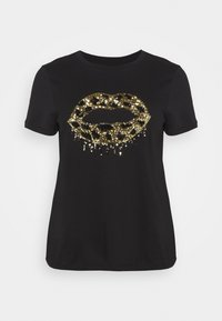 Simply Be - SEQUIN LIPS - T-shirts print - black - 0