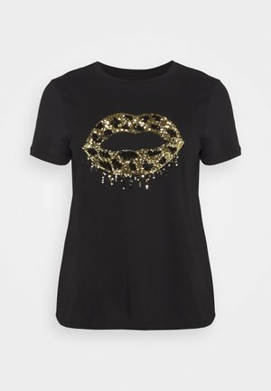 SEQUIN LIPS - Print T-shirt - black