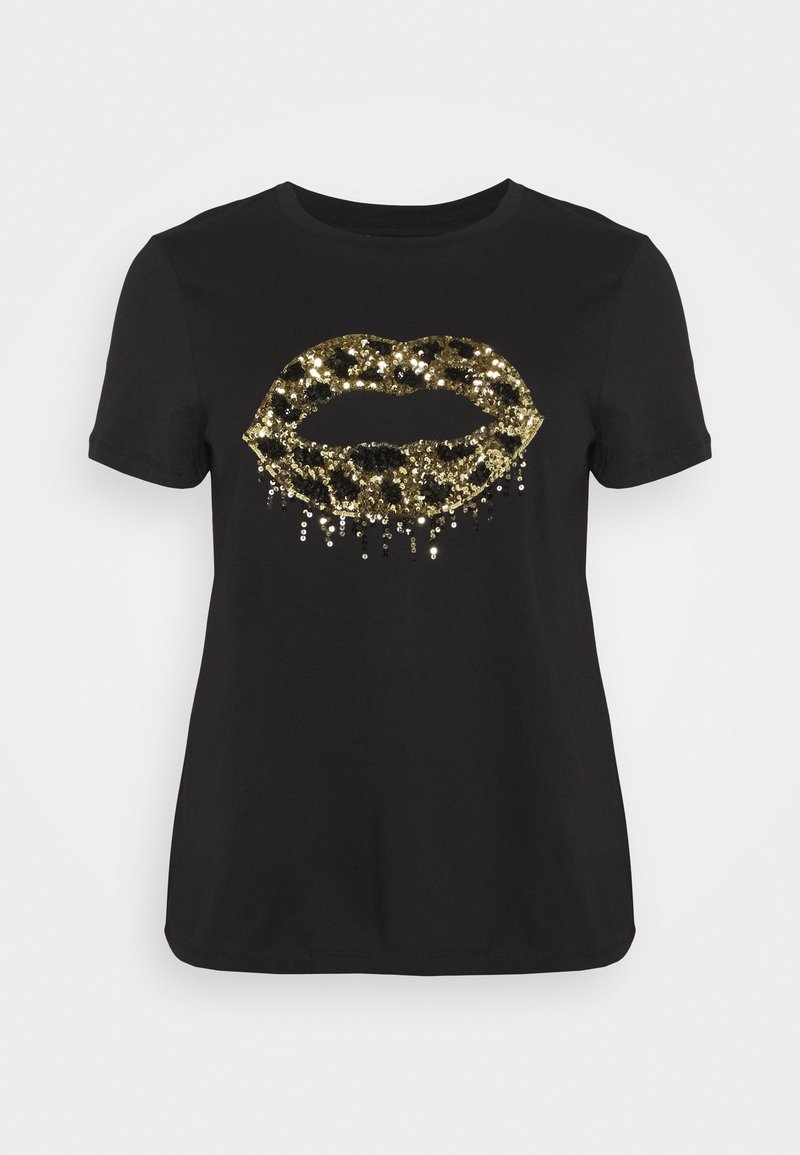 Simply Be - SEQUIN LIPS - T-shirts print - black