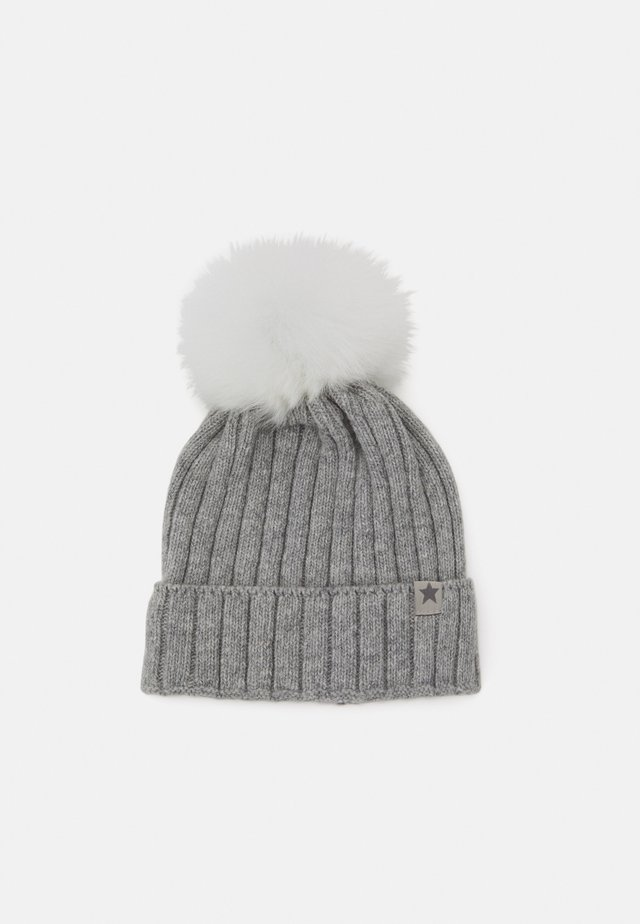 WARMY FOLD UP POMPOM - Beanie - light grey/white