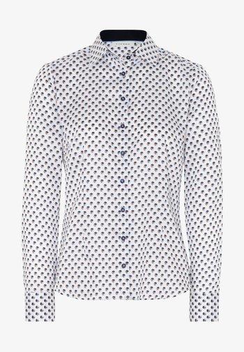 Button-down blouse - weiss/braun/blau