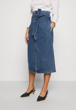 BELTED PAPERBAG MIDI SKIRT - Denimová sukně - dark denim
