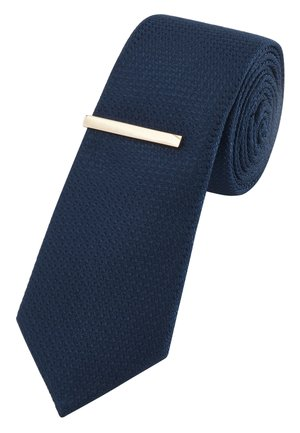 NAVY TEXTURED TIE WITH TIE CLIP - Tie - blue