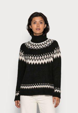 ONLMARJANA HIGHNECK - Stickad tröja - black/pumice stone/taupe gray