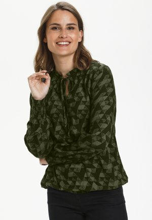Blouse - green triangle print