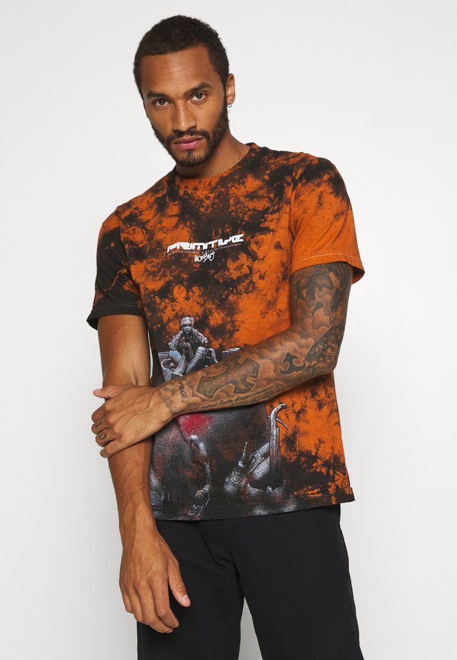 ANXIETY  WASHED TEE - Triko s potiskem - burnt orange