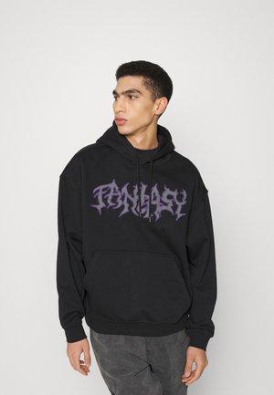 OVERSIZED EMBROIDED HOODIE UNISEX - Sweatshirt - black