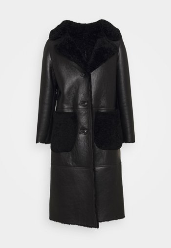 KATHERINE CONTRAST POCKET COAT  - Leather jacket - black