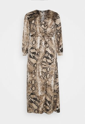 PLUS SIZE PLUNGE SNAKE PRINT - Day dress - brown