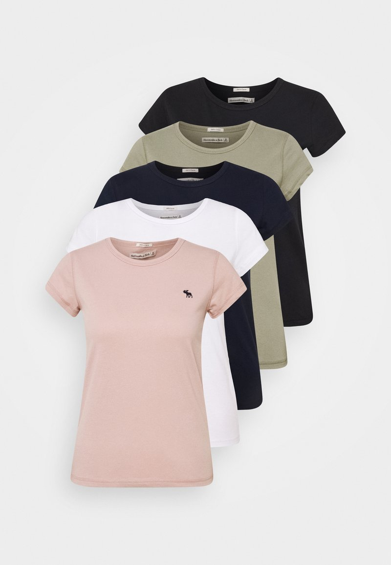 Abercrombie & Fitch - 5 PACK - Jednoduché triko - white/black/pink/olive/navy