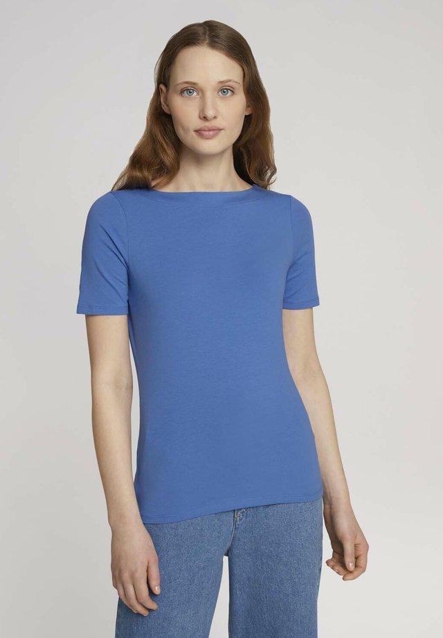 BOAT NECK TEE - Jednoduché triko - mid blue